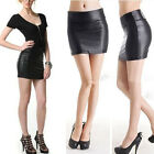 New Women Retro Faux Leather Shiny Wet Look Mini High Waist Sexy Skirt Clubwear