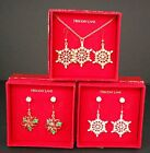 Holiday Lane Snowflake or Poinsettia Earrings or Necklace/Earring  Sets Pick One
