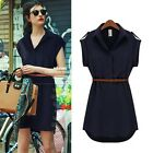 Hot Womens Polo Collar Elastic Waist Chiffon Empire Shirt Dress With Belt SML XL