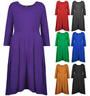 Womens Plus Size Skater Dress Stretch Fit Ladies New Block Coloured Size 16-32