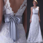 Deep V back White Lace Wedding Dress Bride Gown  Stock Size:6/8/10/12/14/16