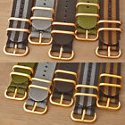 Watch Strap Band Wrap Military 5 Ring Yellow & Bronze Rose Gold Many Colours