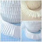 25m ROLL - WHITE - PLAIN PLEATED PICOT LACE EDGE COTTON FABRIC TRIM  RIBBON