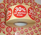 30% Off Promotional Point Of Sale Retail Stickers Sticky Tags Labels POS