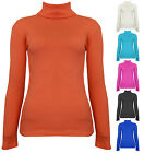 Womens Ribbed Polo Neck Top Cotton Jumper Red Black Blue Pink Ladies New Sz 8 14
