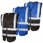 HI VIS VIZ SUPERIOR WAISTCOAT VEST PHONE & ID POCKET ROYAL BLUE BLACK