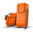 PU LEATHER BUTTON PULL TAB CASE COVER POUCH & STYLUS FOR VARIOUS SAMSUNG PHONES