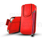 PU LEATHER BUTTON PULL TAB CASE COVER POUCH & STYLUS FOR SAMSUNG GALAXY MOBILES