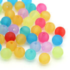 1000pcs Mixed Candy Color Round Frosted Acrylic Glass Spacer Beads 8mm