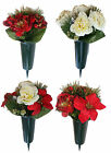 Artificial Flowers Peony / Carnation Cemetery Pot Spike Memorial Grave Tribute