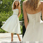 New Stock White/Ivory Tea Length Wedding Dress Bridesmaid Gown UK6 8 10 12 14 16