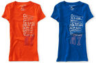 Orange OR Blue Aeropostale Womens Aero NY Vertical Graphic Tee Shirt Sz L XL XXL