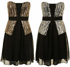 Ladies Sliver Gold Sequin Bustier Chiffon Lined Stretch Back Women's Dress 8-14