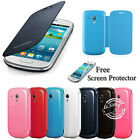 FOR SAMSUNG GALAXY S3 I9300 & S3 MINI I8190 FLIP CASE BACK BATTERY LEATHER COVER