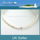 Classic White Freshwater Pearl Necklace with Silver Plated Magnetic Clasp