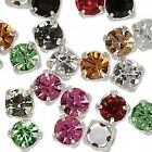 24 Silver 4mm Czech Glass Rhinestone Rose Montees Beads With 4 Holes for Sew On