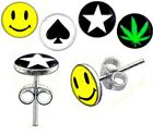 New 925 Sterling Silver Novelty Logo Earring Studs Weed Star Ace Spade Smiley