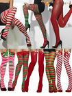Ladies Striped Tights Stockings Womens Father Christmas Elf Santa Fancy Dress