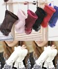 New Women's Warm Real Rabbit Fur Hand Wrist Warmer Fingerless Gloves