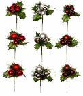 Pack of 3 Christmas Baubles Picks Xmas Decoraction Crafts