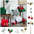 Christmas Hanging Decorations★Snowflake★Honeycomb★Red White★Retro★Ball Baubles