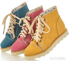 Vintage Style Womens Ladies Girls Ankle Boots Comfort Flat Heel Shoes US Size