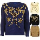 Women's Fluffy Furry Long Sleeve Beaded Gold Floral Rope Thread Ladies Jumper