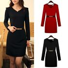 Women Club OL Korea Style Slim Solid Color Long Sleeve Bottoming Dress with Belt