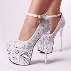 Princess Diamonds Shimmer Studded Spike Party Ankle Wedding Shoes High Heels