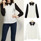 Womens Lace Chiffon Doll Color Long Sleeve Casual Basic Shirt Blouse Tops Tee