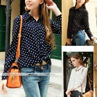 Fashion Womens Vintage Polka Dots Long Sleeve Chiffon Casual Blouses Shirts Tops