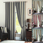 WHITWORTH STRIPE EYELET CURTAINS FAUX SILK LINED CURTAIN PAIRS READY MADE