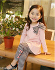 FREE SHIPPING P112 Girls Pink T-shirt Dress + Stripe Legging Set SZ 2-3-4-5-6-7T