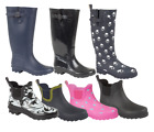 LADIES WOMENS WIDE CALF FITTING BLACK NAVY PINK GREEN WELLIES WELLINGTON BOOTS
