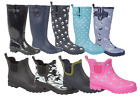 LADIES WOMEN'S WIDE CALF FITTING BLACK NAVY PINK GREEN WELLIES WELLINGTON BOOTS