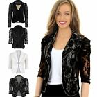 Women's Lace Lined Frill Gathered Shoulder 3-4 Sleeve Zip Ladies Smart Jacket