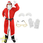 FULL SANTA HOODED COAT SET MENS FATHER CHRISTMAS ROBE FANCY DRESS XMAS COSTUME
