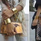 Chic Gothic Punk Gold Silver Wide Hammered Cuff Wristband Chain Bracelet Bangle