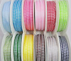 5mm POLYESTER GINGHAM RIBBON,3 GREEN,2 BLUE,RED,2 PINK,GREY,YELLOW,BROWN X 3mtrs