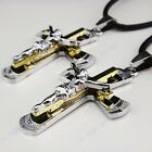 316L Stainless Steel Women Mens Silver Gold Jesus Cross Leather Pendant Necklace