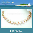 Peach Pink Freshwater Coin Pearl Necklace with Extension Chain - Pearl Island