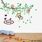 PERSONALISED NAME & Cot side Branch & Monkeys, birds kids / nursery wall sticker