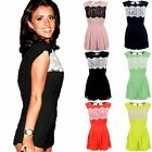 Women's Celeb Chiffon Lace Navy Peach Black Ladies Party Sexy Playsuit Dress