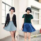 Women Full Circle Denim Blue Wash Flared Side Button Waist Jean Skater Skirt