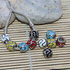 Wholesale Stripe Design Enamel Big Hole European Loose Beads Fit Charm Bracelet
