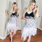 Sexy Black and White Lace Laides Party Club Casual Evening Gown Long Dress 6212B