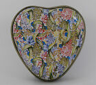 Floral Collectable Vintage Metal Trinket Box Small Metal Heart Container