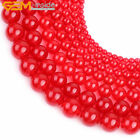 "Wholesal Red Jade Stone Round Beads For Jewelry Making 15"" 4-18mm"