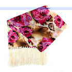 100% Silk Scarf/Wrap 2-Layer Oil Paint Floral Scarves | FJUS