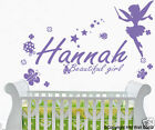 Personalised Name & Fairy, Butterflies Lady Bug, florals Removable wall sticker